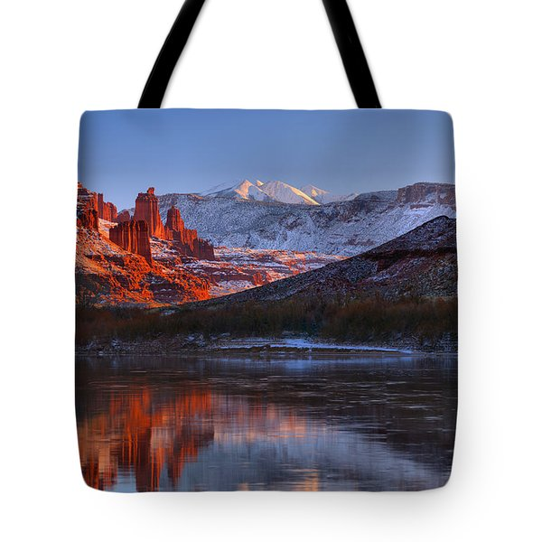 Tote Bag featuring the photograph Fisher Towers Glowing Reflections by Adam Jewell
