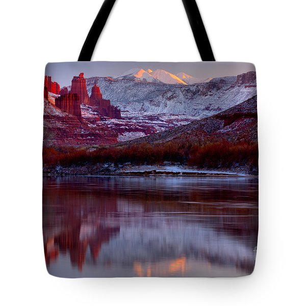 Tote Bag featuring the photograph Fisher Towers Landscape Glow by Adam Jewell