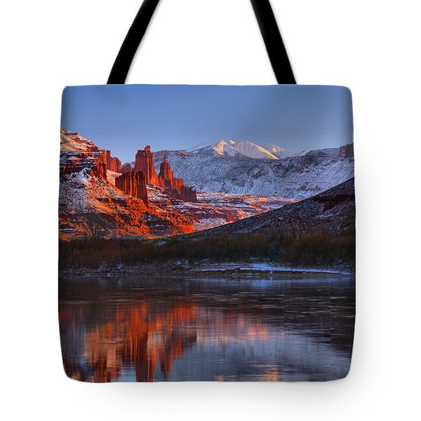 Tote Bag featuring the photograph Fisher Towers Sunset Glow Panorama by Adam Jewell