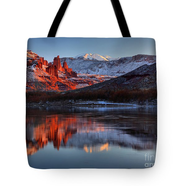 Tote Bag featuring the photograph Fisher Towers Sunset On The Colorado by Adam Jewell