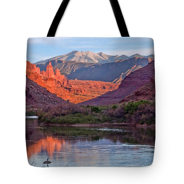 Fisher Towers Sunset Reflection Tote Bag
