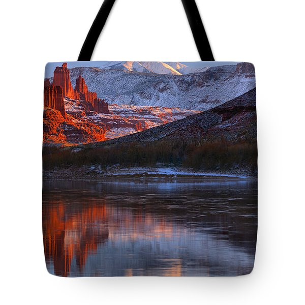 Tote Bag featuring the photograph Fisher Towers Sunset Reflection Panorama by Adam Jewell