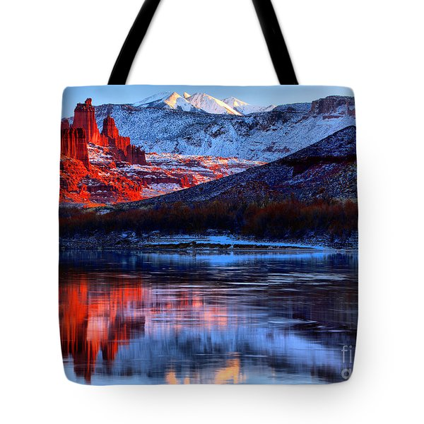 Tote Bag featuring the photograph Fisher Towers Sunset Winter Landscape by Adam Jewell