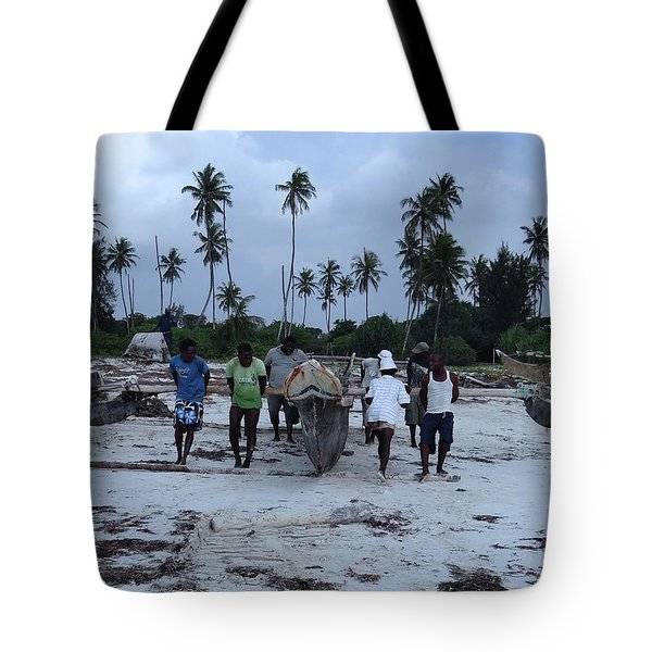 Fisherman Heading In From Their Days Catch At Sea With A Wooden Dhow Tote Bag