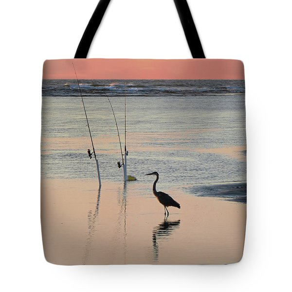 Fisherman Heron Tote Bag by Deborah Smith