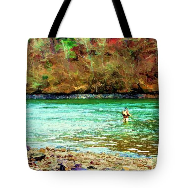 Tote Bag featuring the photograph Fisherman Hot Springs Ar In Oil by Diana Mary Sharpton