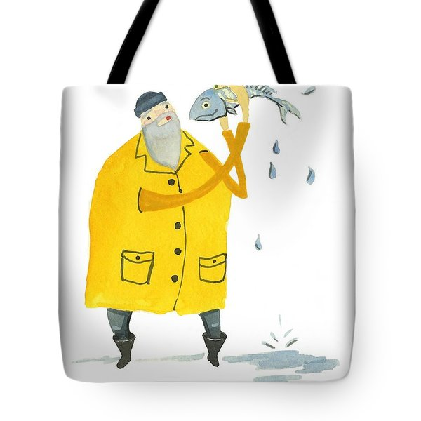 Tote Bag featuring the painting Fisherman by Leanne WILKES