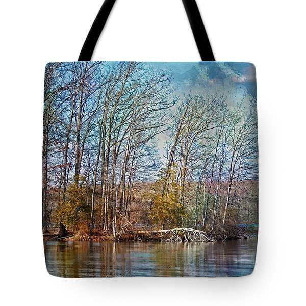 Fisherman On Burke Lake Tote Bag