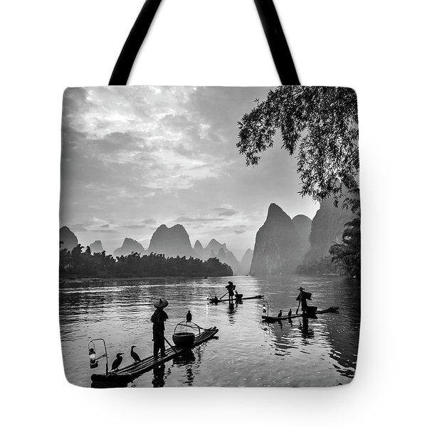 Fishermen At Dawn. Tote Bag