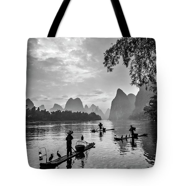Fishermen At Dawn. Tote Bag