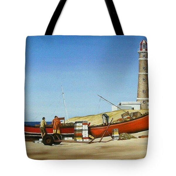 Tote Bag featuring the painting Fishermen By Lighthouse by Natalia Tejera