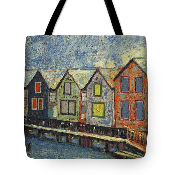 Tote Bag featuring the painting Fishermen Huts by Walter Casaravilla