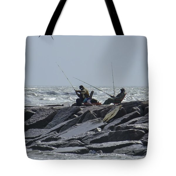 Fishermen With Seagull Tote Bag