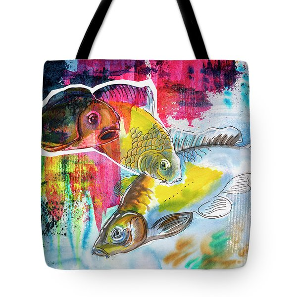 Tote Bag featuring the painting Fishes In Water, Original Painting by Ariadna De Raadt