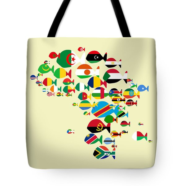 Fishes Map Of Africa Tote Bag
