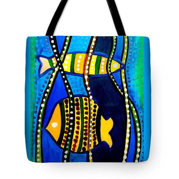 Fishes With Seaweed - Art By Dora Hathazi Mendes Tote Bag by Dora Hathazi Mendes
