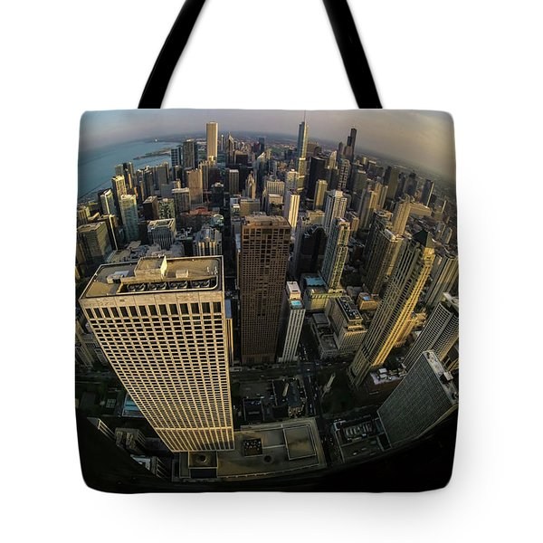 Fisheye View Of Dowtown Chicago From Above  Tote Bag