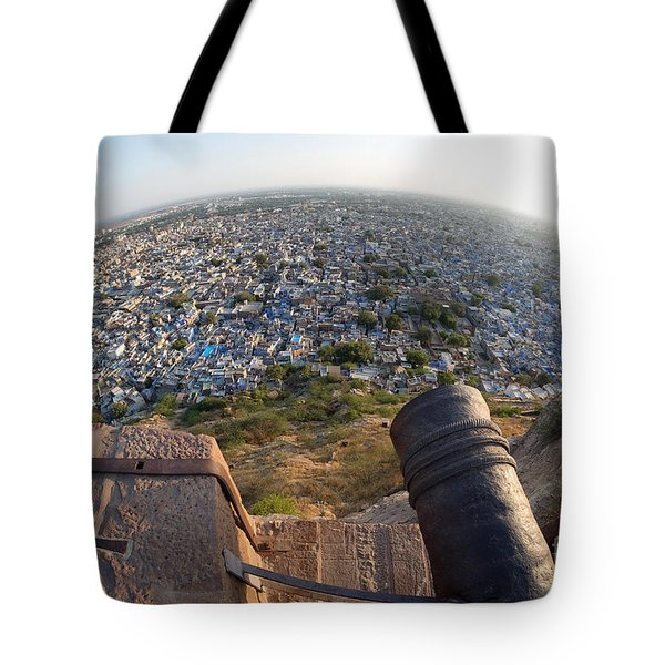Tote Bag featuring the photograph Fisheye View Of Jodhpur by Yew Kwang