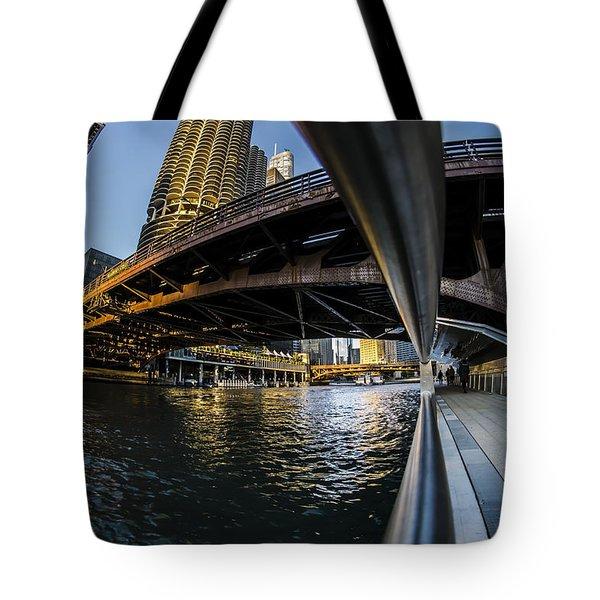 Fisheye View From The Chicago Riverwalk Tote Bag