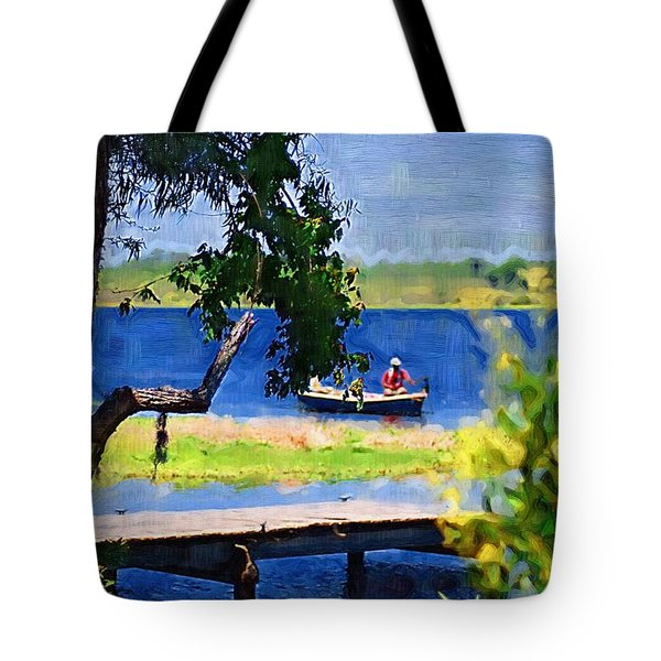 Tote Bag featuring the photograph Fishin by Donna Bentley