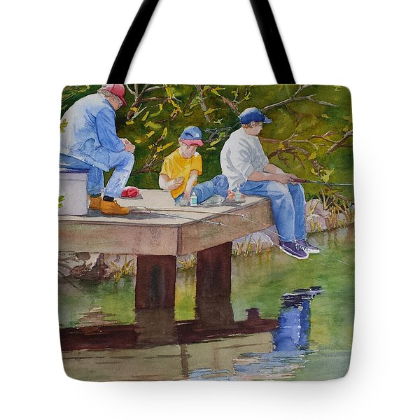 Tote Bag featuring the painting Fishin' by Judy Mercer
