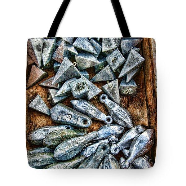 Fishing - Box Of Sinkers Tote Bag by Paul Ward