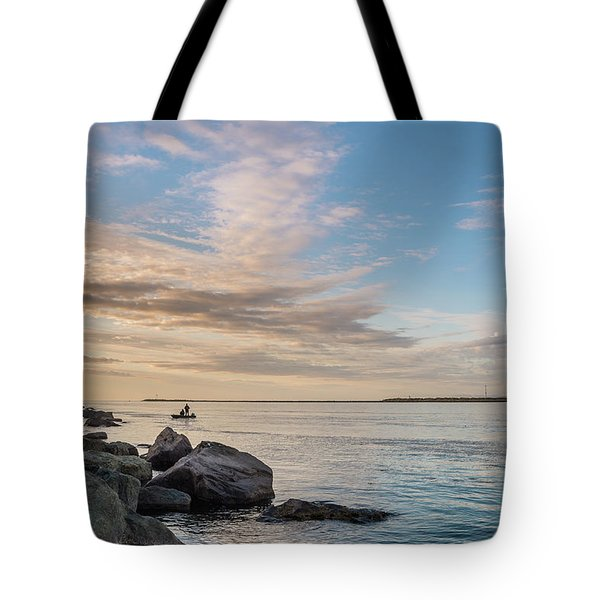 Fishing Along The South Jetty Tote Bag by Greg Nyquist