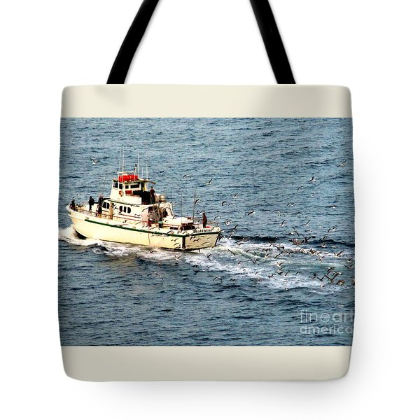 Tote Bag featuring the photograph Fishing And Seagulls by Randall Weidner