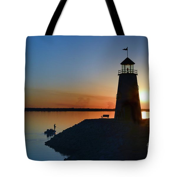 Fishing At The Lighthouse Tote Bag