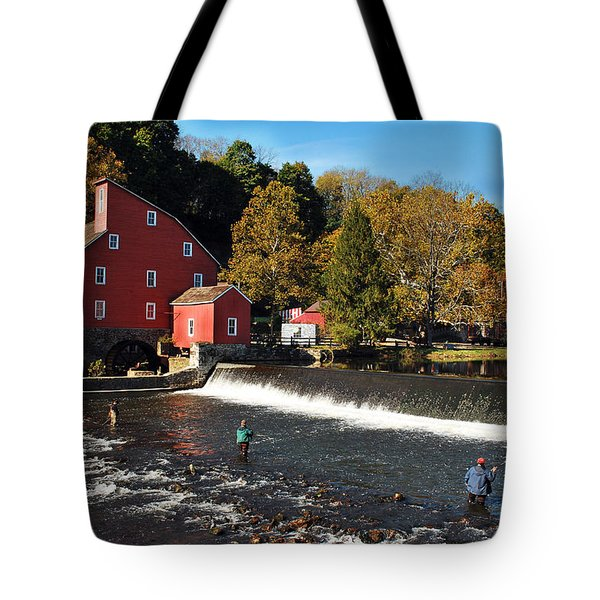 Fishing At The Old Mill Tote Bag