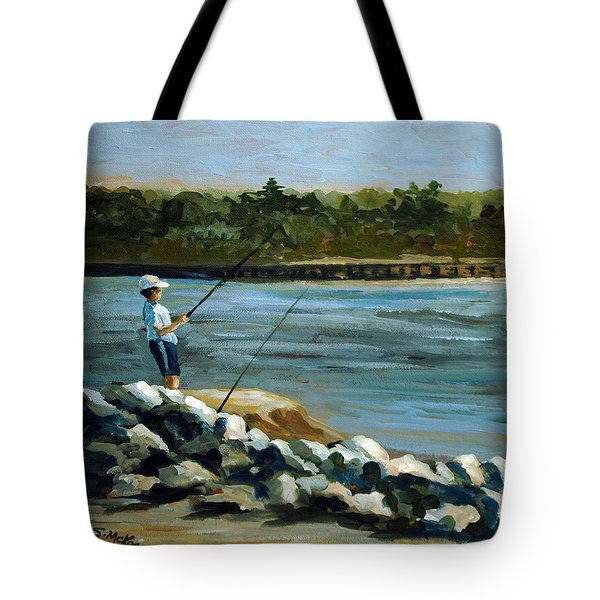 Tote Bag featuring the painting Fishing At The Point by Suzanne McKee