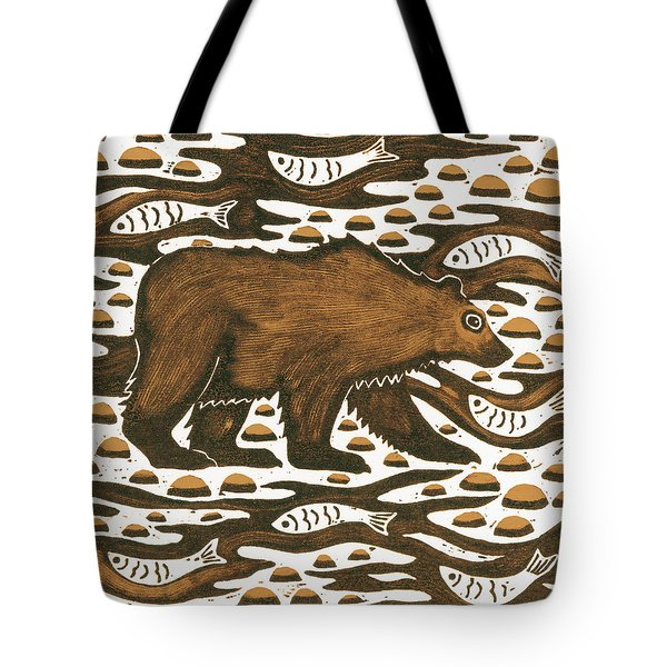 Fishing Bear Tote Bag