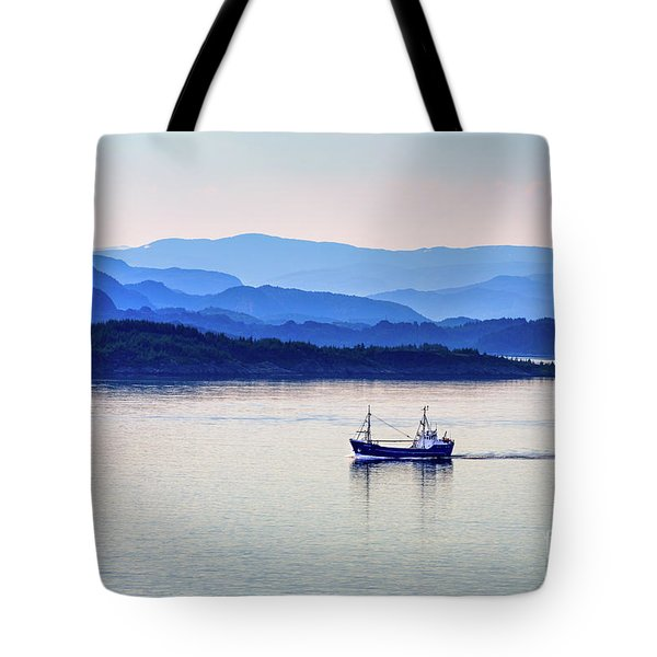 Fishing Boat At Dawn Tote Bag