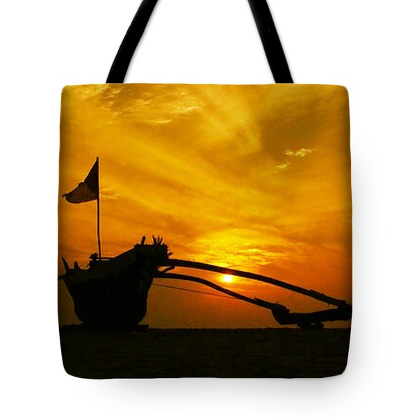 #fishing #boat At #sunset By Sy Smith Tote Bag by Sy Smith