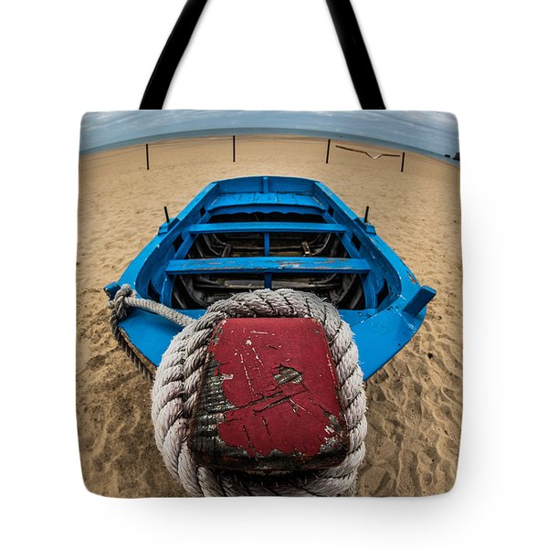 Little Blue Fishing Boat Tote Bag