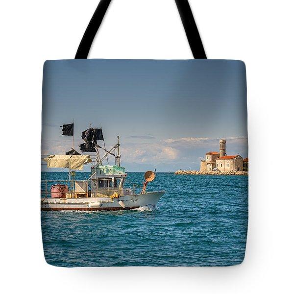 Fishing Boat Tote Bag