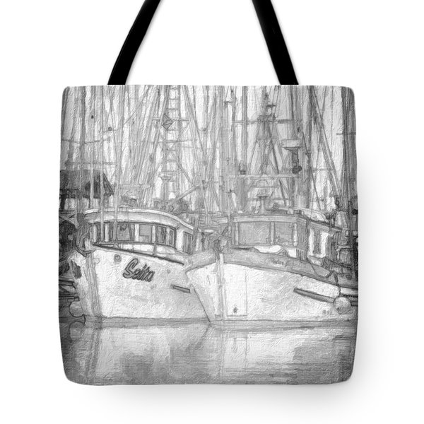 Fishing Boat Sketch Tote Bag by Richard Farrington