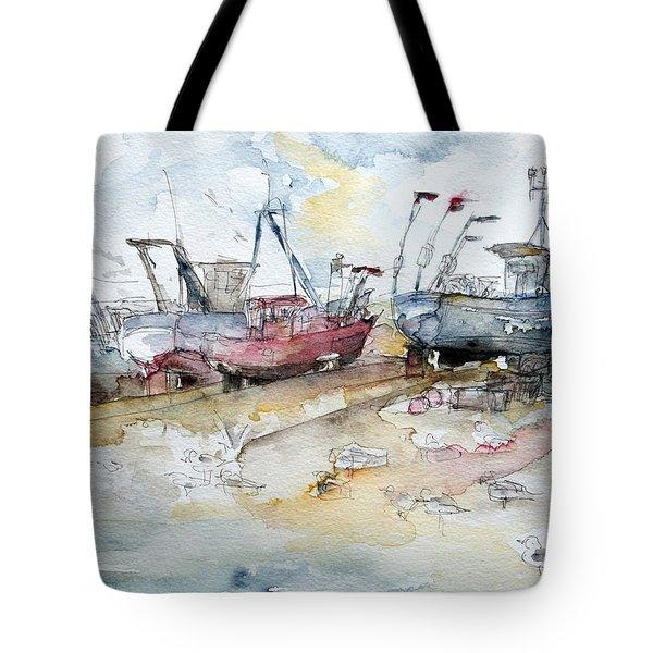 Fishing Boats At Hastings' Beach Tote Bag by Barbara Pommerenke