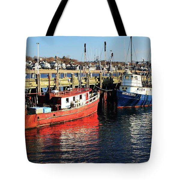 Tote Bag featuring the photograph Fishing Boats At Provincetown Wharf by Roupen  Baker
