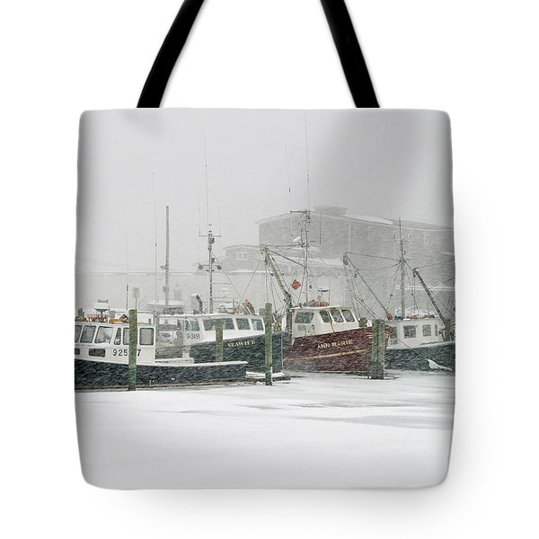 Fishing Boats During Winter Storm Sandwich Cape Cod Tote Bag by Matt Suess