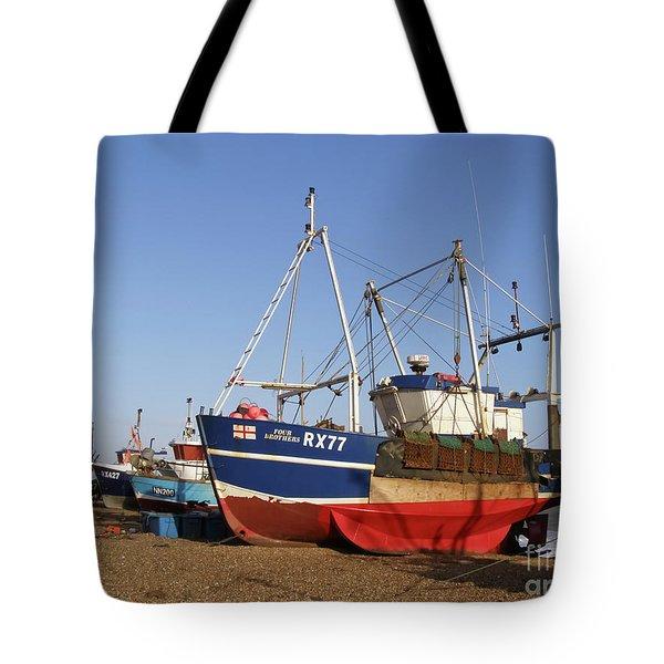 Fishing Boats On Hastings Stade Tote Bag by Terri Waters