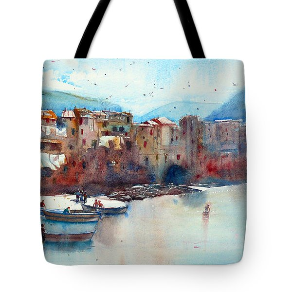 Fishing Boats On The Beach Of Cefalu Tote Bag by Andre MEHU