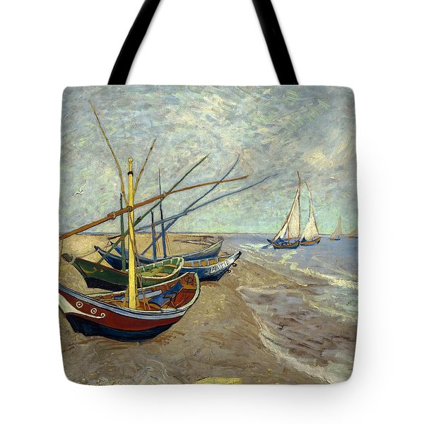 Tote Bag featuring the painting Fishing Boats On The Beach by Van Gogh