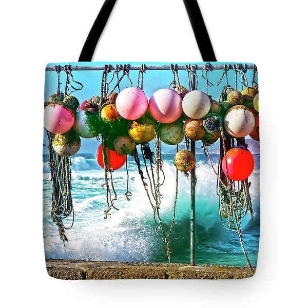 Tote Bag featuring the photograph Fishing Buoys by Terri Waters