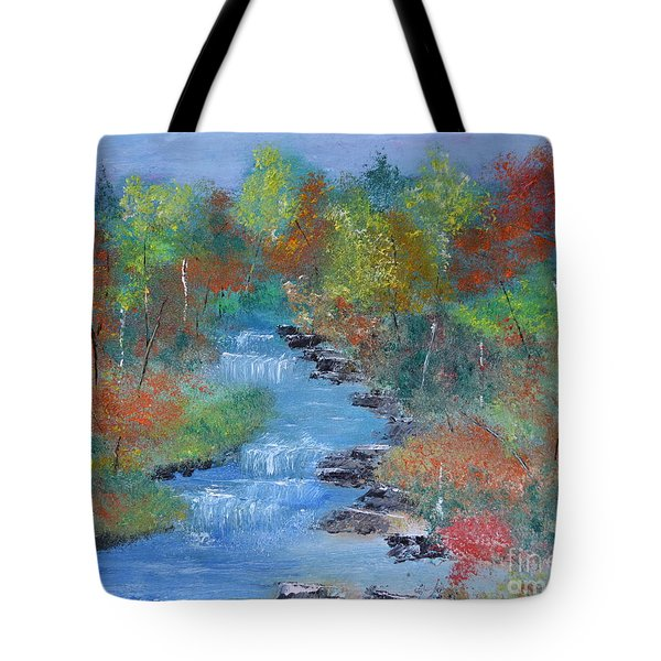 Tote Bag featuring the painting Fishing Creek by Denise Tomasura