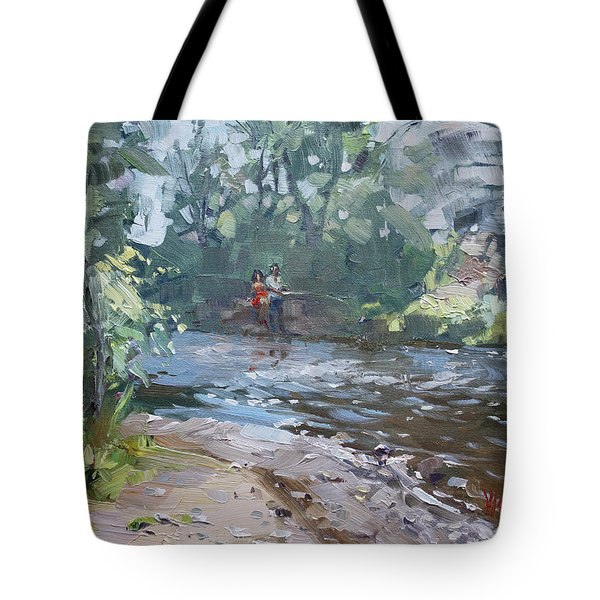Fishing Day With Viola Tote Bag