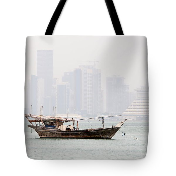 Fishing Dhow And Misty Towers Tote Bag