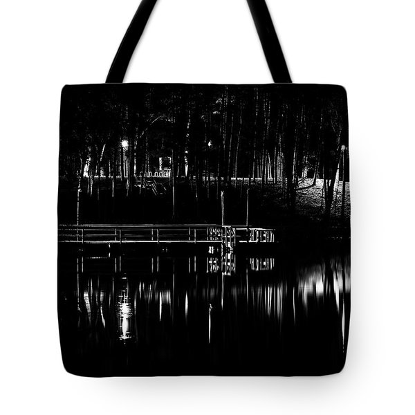 Tote Bag featuring the photograph Fishing Dock At Night 2017  by Thomas Young