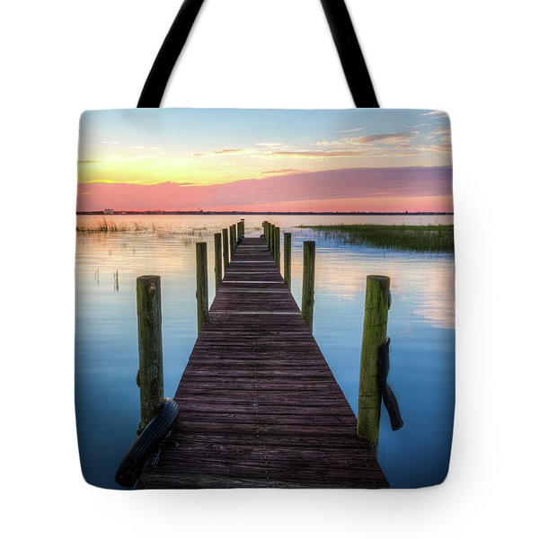 Tote Bag featuring the photograph Fishing Dock At Sunrise by Debra and Dave Vanderlaan