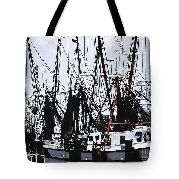 Tote Bag featuring the photograph Fishing Fleet In Gloucester Harbor by Merton Allen